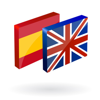 english spanish translation button 3d vector