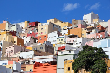 Las Palmas, Gran Canaria - colorful houses of Barrio San Roque.