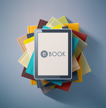 E-book, stack of books, eps 10