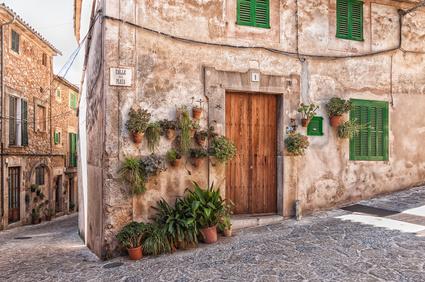 Fachada de piedra con una puerta y plantas colgadas de la pared