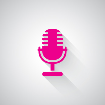 Pink Microphone web icon on light grey background