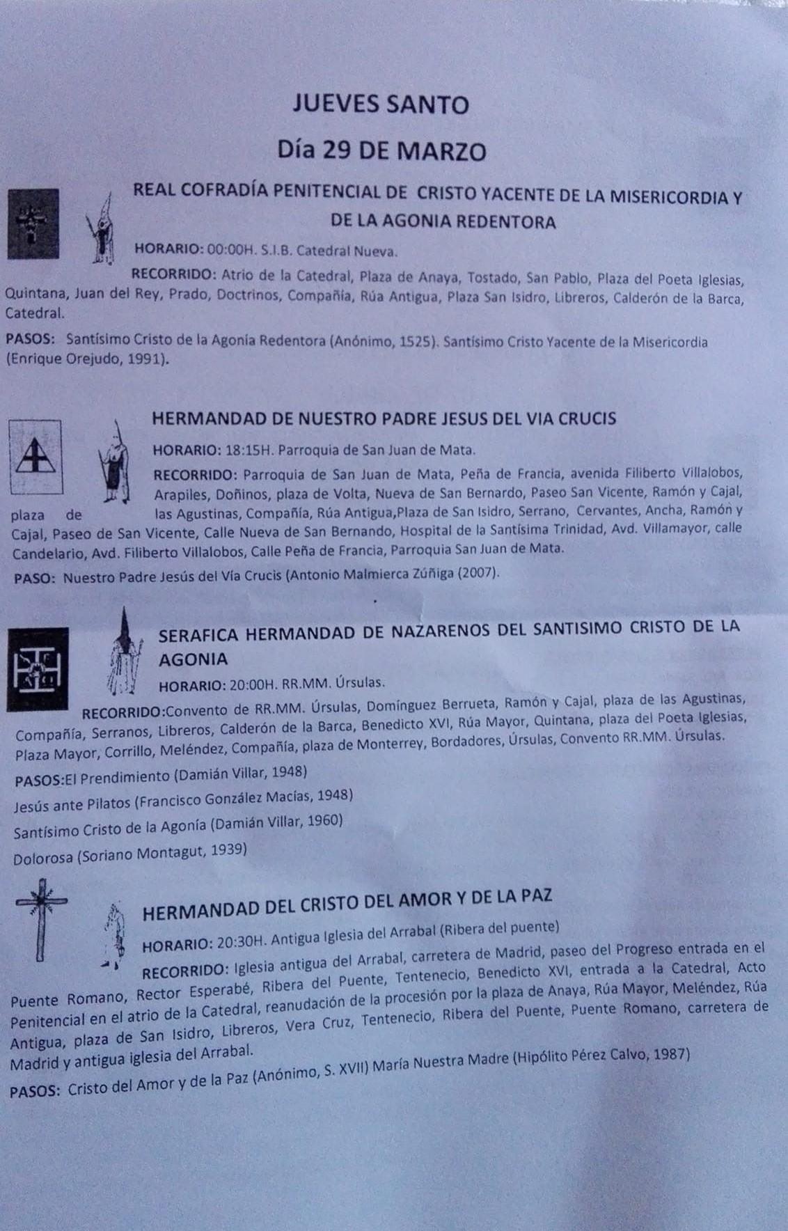 Salamanca, Jueves Santo